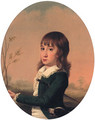 Portrait of a Boy, small half-length, in a green jacket and white shirt - English School