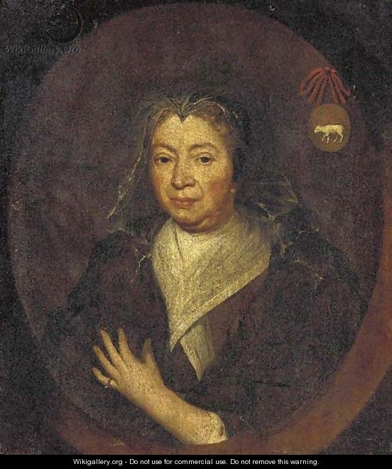 Portrait of a lady, bust-length, in a brown coat and white collar, feigned oval - English School