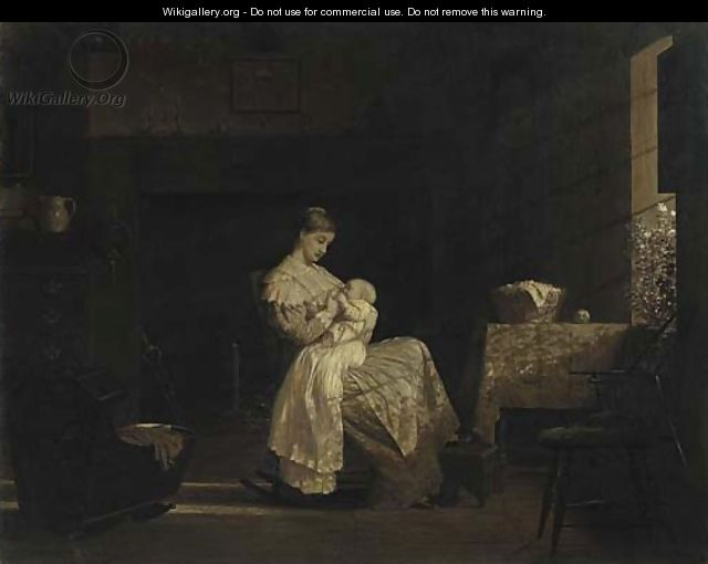 Mother Nursing a Child in an Interior - Enoch Wood Perry