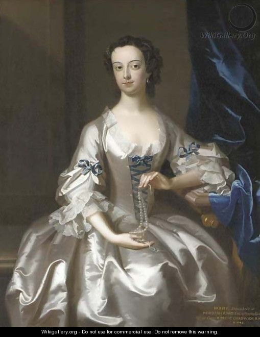 Portrait of Mary Rand, half-length, seated, in an oyster-satin dress with blue ribbons, holding a string of pearls - Enoch Seeman