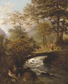 Figures resting by a river with a shepherdess on a bridge beyond - English School