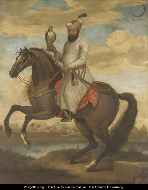 Equestrian portrait of an Indian nobleman - English School