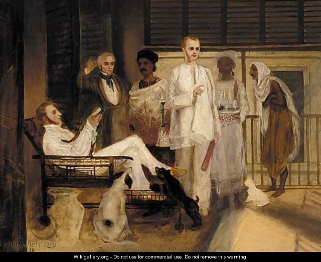 Gentlemen on a verandah with Indian servants - English School