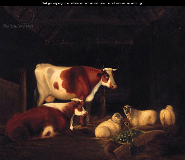 Cattle And Sheep Resting In A Barn - English School