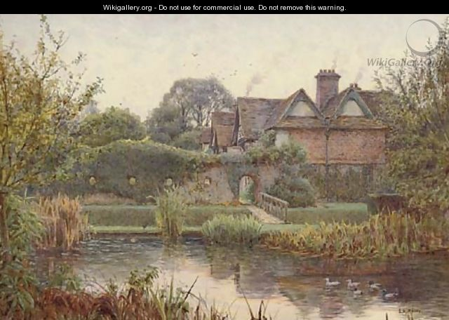 Across the moat, Great Langley Manor - Ernest Arthur Rowe