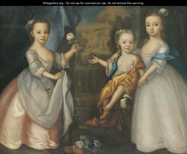 Group portrait of three children of William Meachin - English School