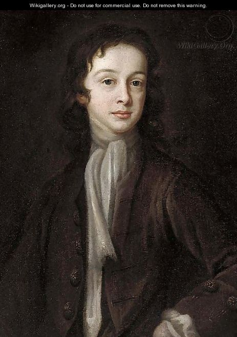 Portrait of a boy, half-length, in a brown jacket and white cravat - English School