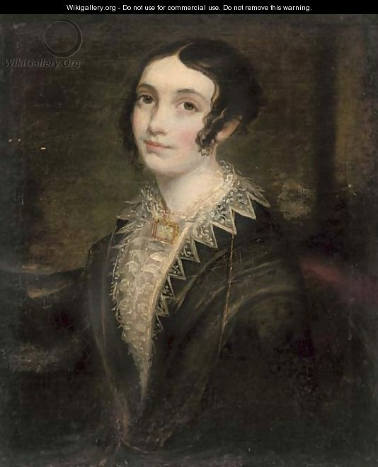 Portrait of a lady, half-length, in a black dress with lace trim - English School