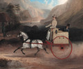 A Gentleman and a Man Riding in a Cart pulled by a white pony - English School