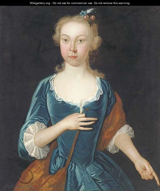 Portrait of a lady, half-length, in a blue dress - English School