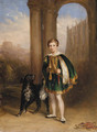 A boy in montem dress, with a dog at his side by Eton College chapel, with Windsor Castle beyond - English School