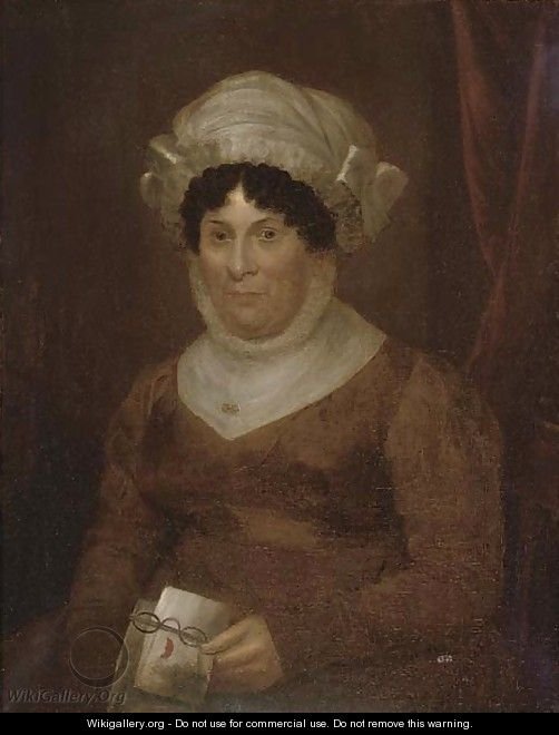 Portrait of a lady, half-length, in a brown dress with glasses and a letter in her hand - English School