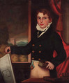 Portrait of a boy, three-quarter-length, in a black jacket and buff breeches - English School
