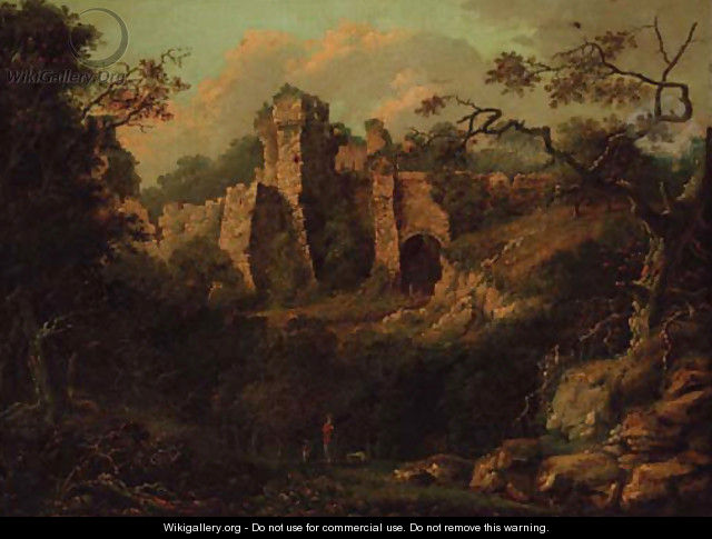 A ruined castle in a wooded landscape, figures in the foreground - English School