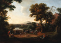 An Italianate landscape with a wrestling match and spectators in the foreground - English School