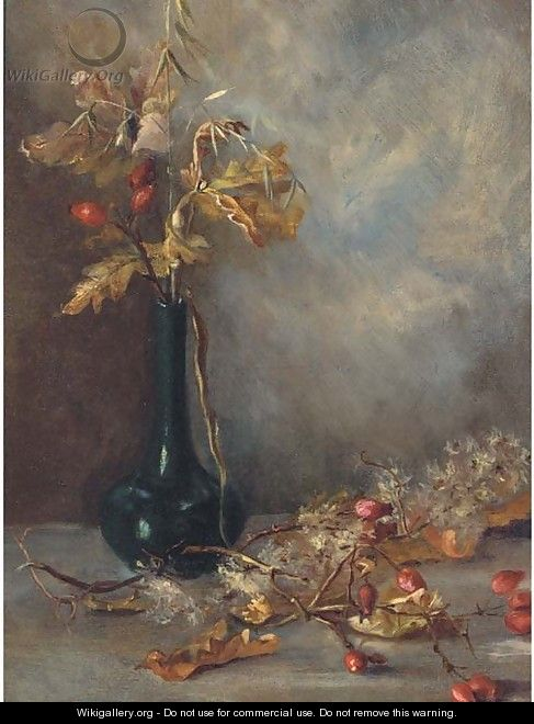 Rosehips in a vase - English School