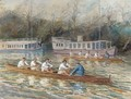 Balliol College Four rowing past houseboats - English School
