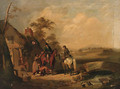 Travellers taking refreshments by a cottage - English School