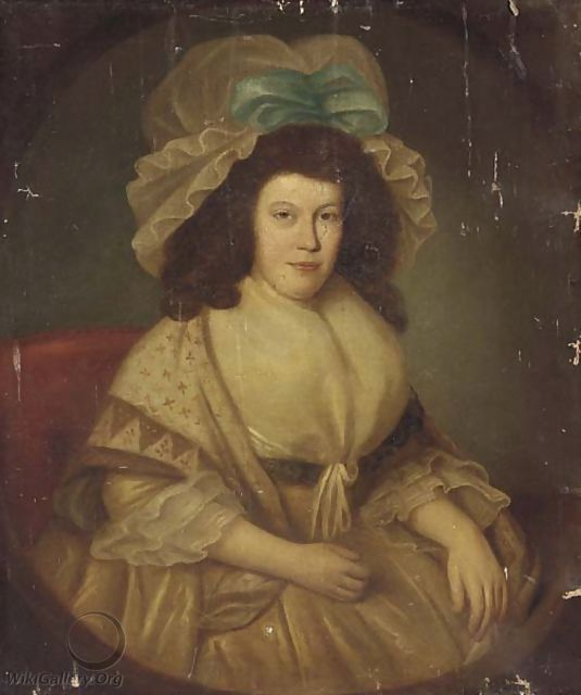 Portrait of a lady, seated three-quarter-length, in a white dress and mop hat with a blue ribbon - English School