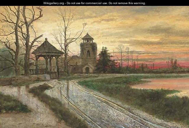Sunset over a churchyard - English School