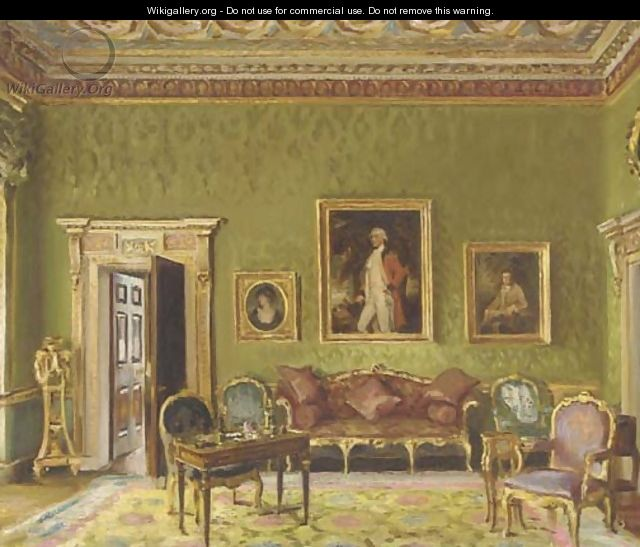 Study of a drawing-room interior - English School