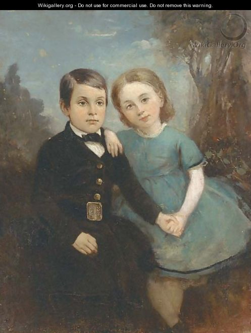 Portrait of two children, full-length, the girl in a blue dress and the boy in a black suit, in a landscape - English School