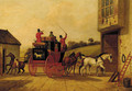 The York stagecoach before an inn - English School