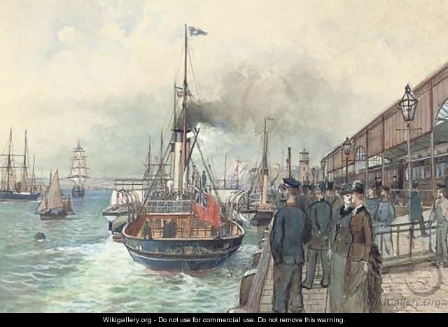 The British passenger steamer Thalia departing from the quayside of the Marine Station, Dover - English School
