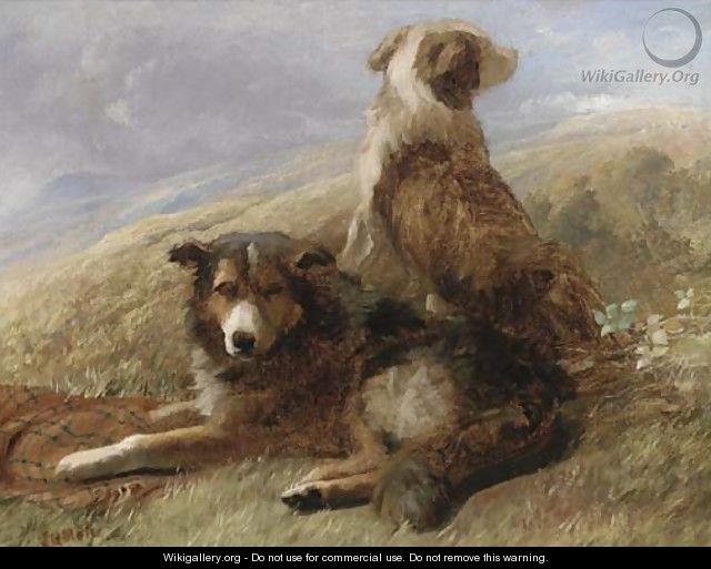 Sheepdogs resting in a landscape - English School