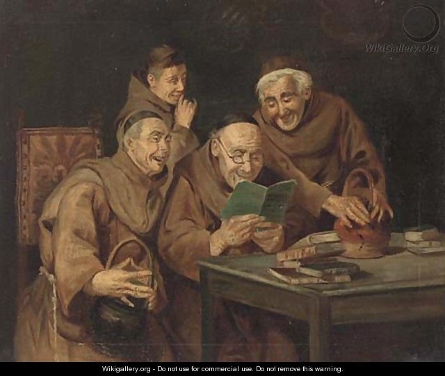 Monks sharing a joke; and Another similar - English School