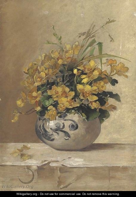Buttercups and wild grass in a pot - English School