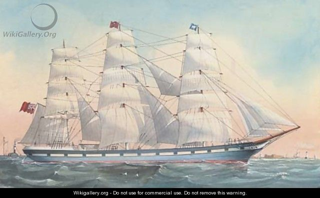 The Wavertree under full sail off the Perch Rock Fort, Liverpool - English School