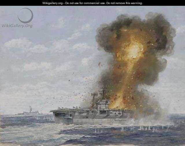 The U.S. aircraft carrier Radnich under enemy fire - English School