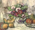 Flowers in a bowl with apples and bananas - English School