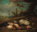 A dead blackbird, a chaffinch, thrushes and a heron in a landscape - (after) Jan Vonck