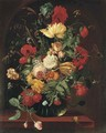Poppies, tulips, marigolds, corns of wheat, roses and other flowers in a glass vase on a ledge - (after)Jan Van Os