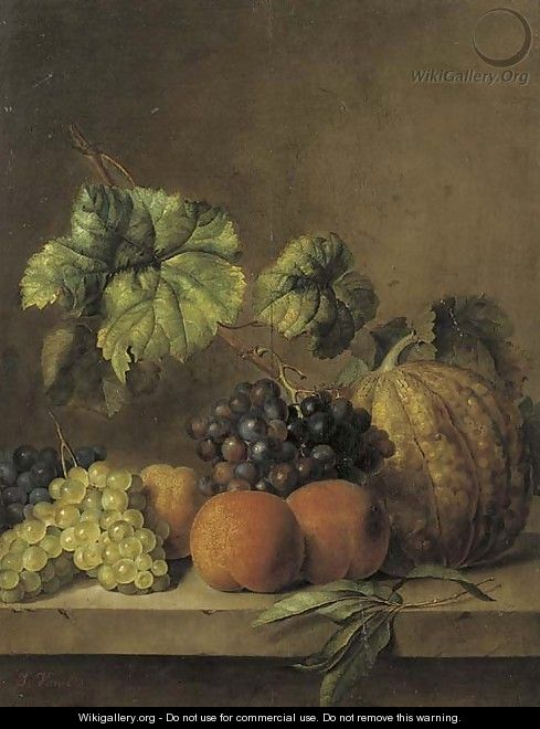 A melon, peaches and grapes on the vine on a ledge - (after) Jan Van Os