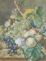 Still life of grapes, peaches, plums and other fruit with peonies, chrysanthemums and convolvulus, on a marble ledge - (after) Huysum, Jan van