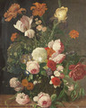 Roses, peonies, a tulip and other flowers in a glass vase on a stone ledge - (after) Huysum, Jan van