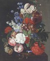 Flowers in a vase on a table - (after) Huysum, Jan van