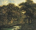 A wooded landscape with a hunting party - (after) Jan Van Der Heyden