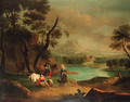 A drover with cattle and a traveller resting in a river landscape - (after) Jan Van Der Bent
