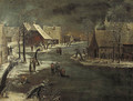 A winterlandscape with skaters on a frozen waterway in a village - (after) Jan Van De Capelle