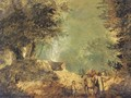 A wooded landscape with travellers on a track - (after) Jean-Baptiste Pillement