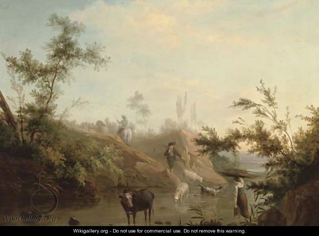 A river landscape with a drover, his cattle and a shepherd and his flock - (after) Jean-Baptiste Pillement
