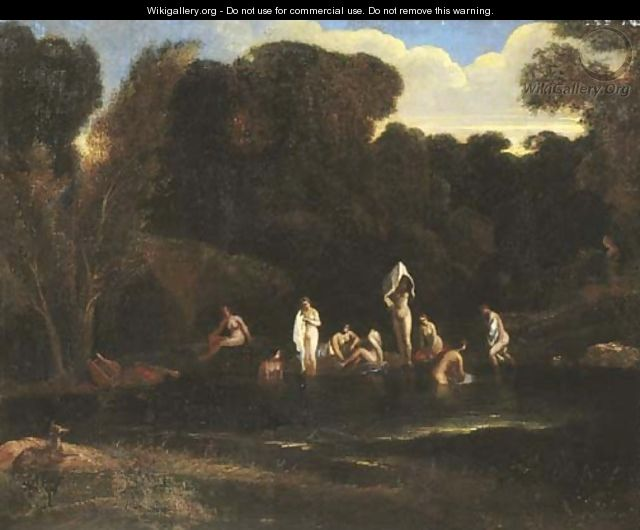 A wooded river landscape with Diana and her nymphs bathing - (after) Jean-Francois Millet