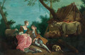 A shepherd courting a shepherdess by a farmhouse in a wooded landscape - (after) Jean-Baptiste Joseph Pater
