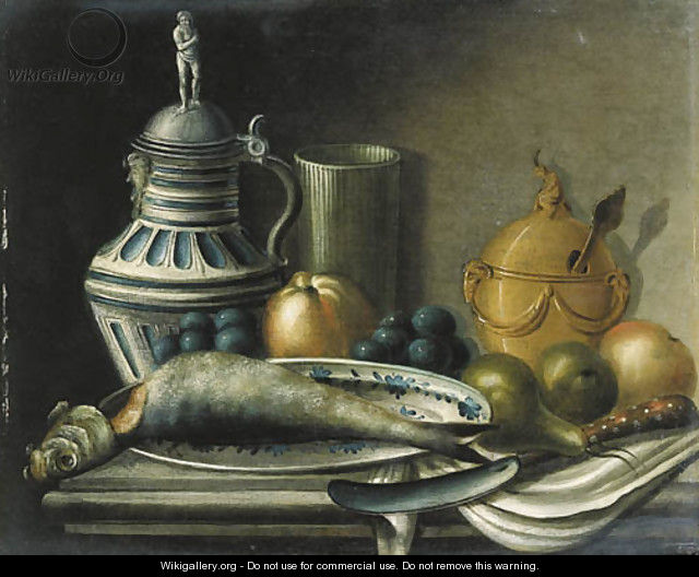 A herring on a plate - (after) Jean-Baptiste Oudry
