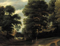 Travellers on a road in a wood, a farm beyond - (after) Jaques D'Arthois