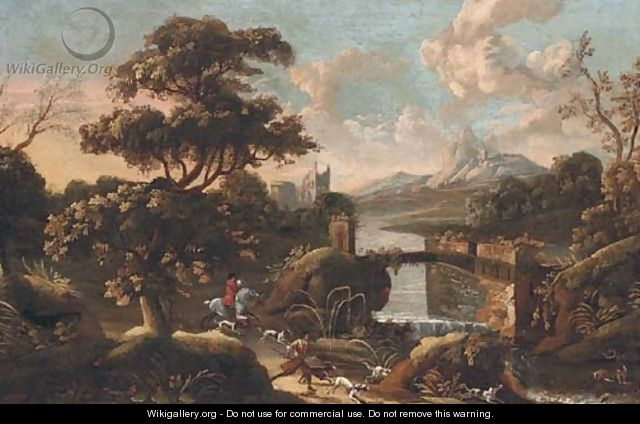 An extensive Italianate landscape with a stag hunt in the foreground - (after) Jan Wyck